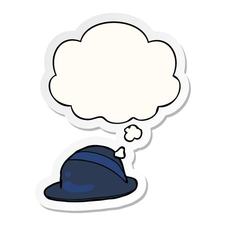 cartoon bowler hat with thought bubble as a printed sticker