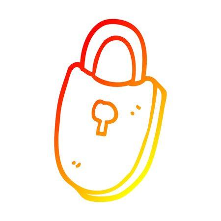 warm gradient line drawing of a cartoon treasure lock