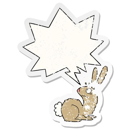 cartoon startled bunny rabbit with speech bubble distressed distressed old sticker Иллюстрация