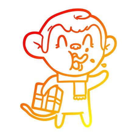 warm gradient line drawing of a crazy cartoon monkey with christmas present