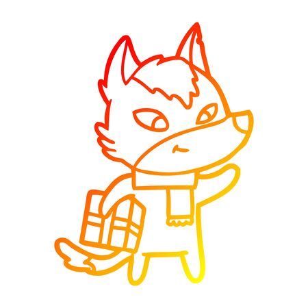 warm gradient line drawing of a friendly cartoon christmas wolf  イラスト・ベクター素材