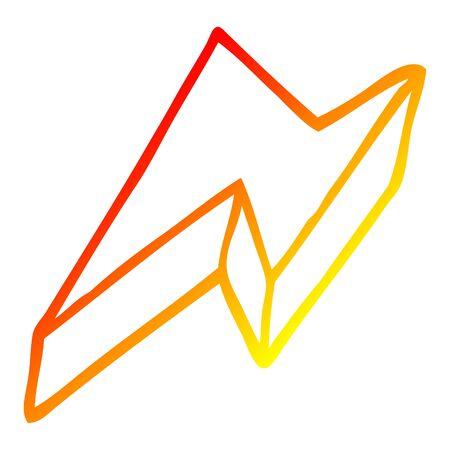 warm gradient line drawing of a cartoon decorative lightning bolt Ilustração