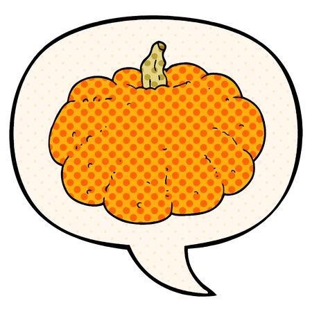 cartoon pumpkin with speech bubble in comic book style