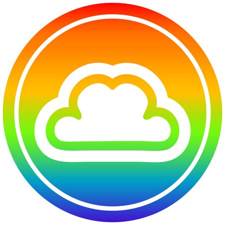 simple cloud circular icon with rainbow gradient finish