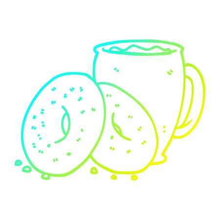 cold gradient line drawing of a cartoon coffee and donuts