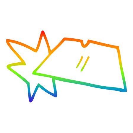 rainbow gradient line drawing of a cartoon shiny razorblades