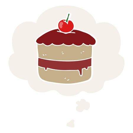 cartoon cake with thought bubble in retro style Иллюстрация
