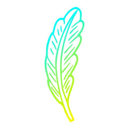 cold gradient line drawing of a cartoon white feather Banque d'images - 129277758