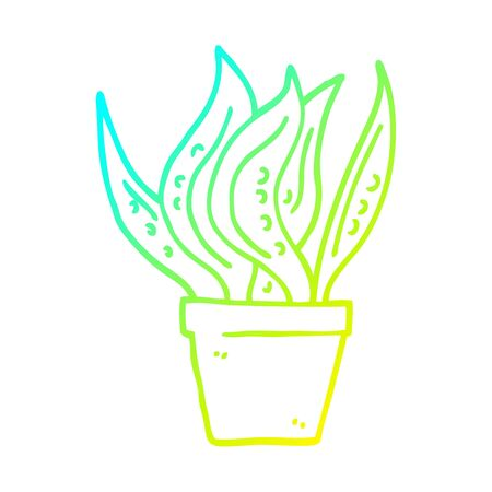 cold gradient line drawing of a cartoon house plant Archivio Fotografico - 129277776