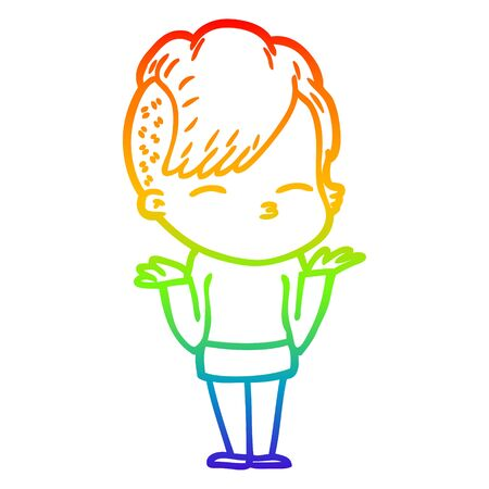 rainbow gradient line drawing of a cartoon girl shrugging shoulders