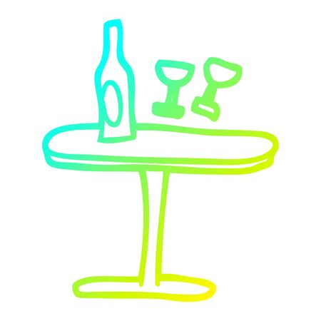 cold gradient line drawing of a cartoon table with bottle and glasses