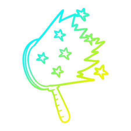 cold gradient line drawing of a cartoon magic mirror Ilustracja