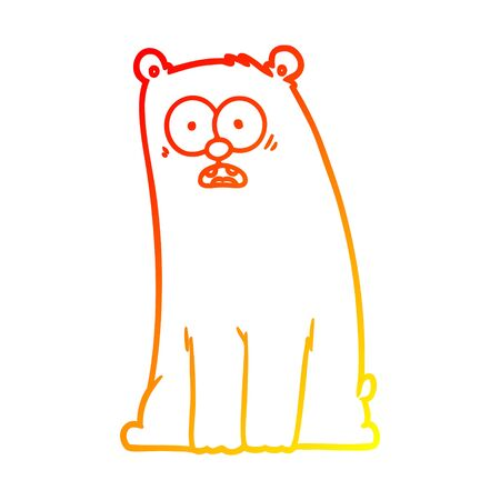 warm gradient line drawing of a cartoon surprised bear 일러스트
