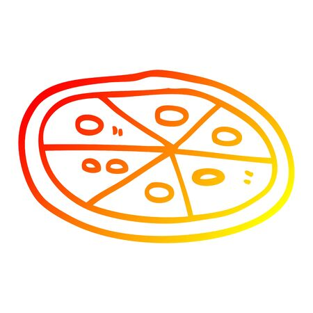 warm gradient line drawing of a cartoon pizza