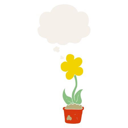 cute cartoon flower with thought bubble in retro style