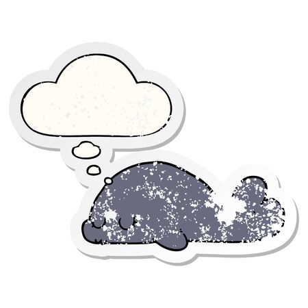 cute cartoon seal with thought bubble as a distressed worn sticker