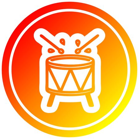 beating drum circular icon with warm gradient finish