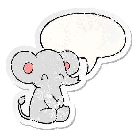 cute cartoon elephant with speech bubble distressed distressed old sticker