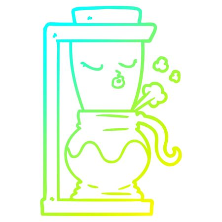 cold gradient line drawing of a cartoon filter coffee machine