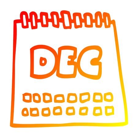warm gradient line drawing of a cartoon calendar showing month of december