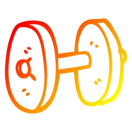 warm gradient line drawing of a cartoon gym weights