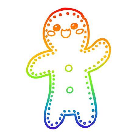 rainbow gradient line drawing of a cartoon gingerbread man