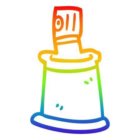 rainbow gradient line drawing of a cartoon aersol can Ilustração
