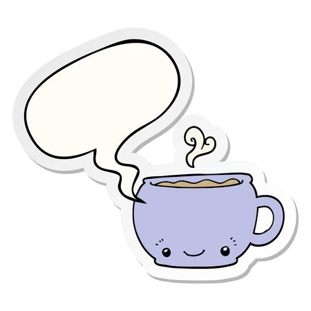 cartoon hot cup of coffee with speech bubble sticker