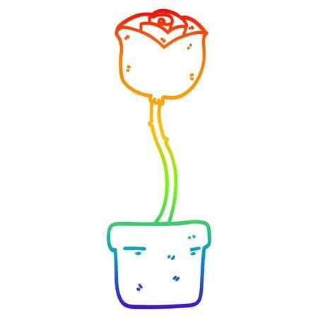 rainbow gradient line drawing of a cartoon flower Stock Vector - 129274588