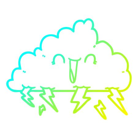 cold gradient line drawing of a cartoon thundercloud