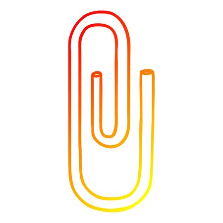 warm gradient line drawing of a cartoon paperclip