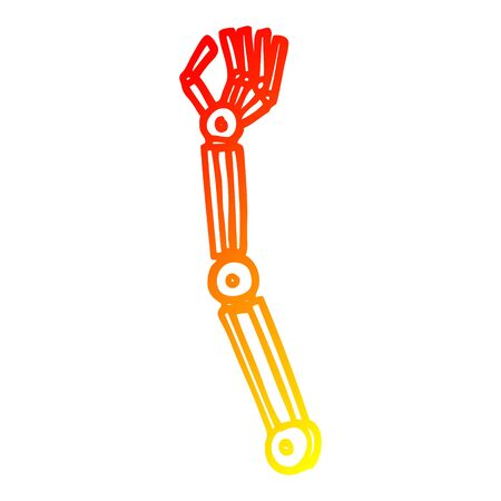 warm gradient line drawing of a cartoon robotic arm