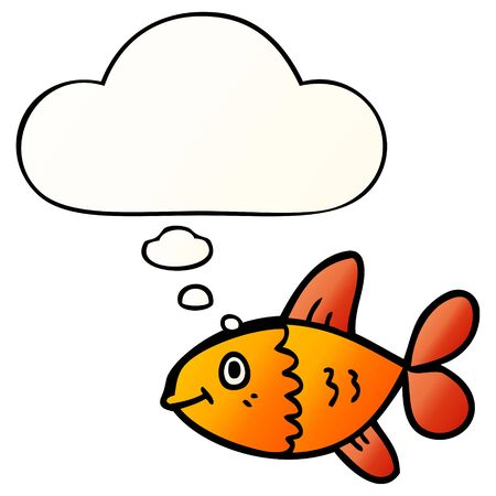 cartoon fish with thought bubble in smooth gradient style