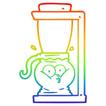 rainbow gradient line drawing of a cartoon filter coffee machine