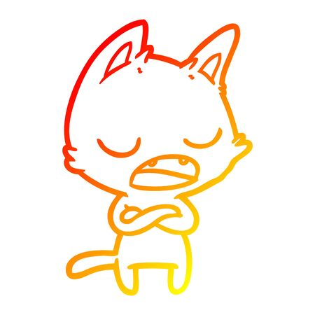 warm gradient line drawing of a talking cat with crossed arms Illustration