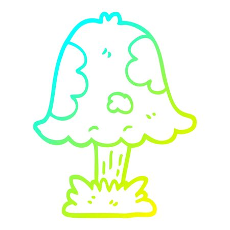 cold gradient line drawing of a cartoon mushroom  イラスト・ベクター素材