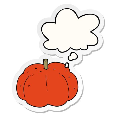 cartoon pumpkin with thought bubble as a printed sticker
