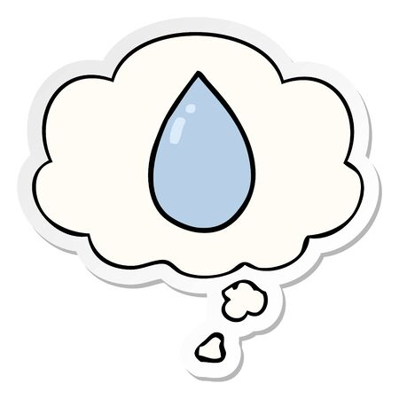 cartoon water droplet with thought bubble as a printed sticker
