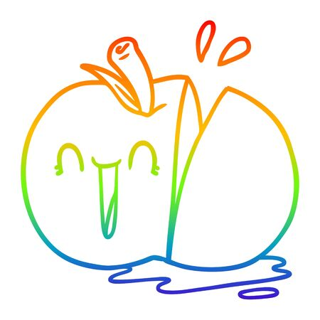 rainbow gradient line drawing of a happy cartoon sliced apple Иллюстрация