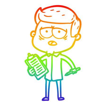 rainbow gradient line drawing of a cartoon tired man Ilustrace
