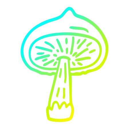 cold gradient line drawing of a cartoon mushroom 向量圖像
