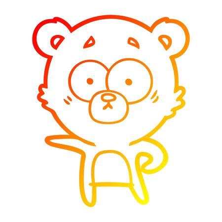 warm gradient line drawing of a surprised polar bear cartoon  イラスト・ベクター素材
