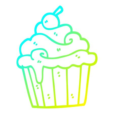 cold gradient line drawing of a cartoon cup cake