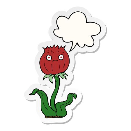 cartoon thistle with speech bubble sticker