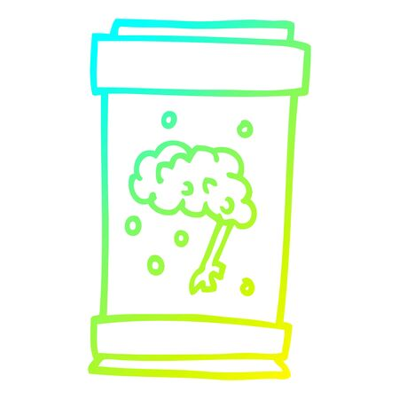 cold gradient line drawing of a cartoon brain in jar  イラスト・ベクター素材