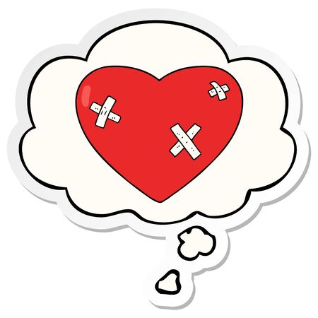 cartoon beaten up heart with thought bubble as a printed sticker Иллюстрация
