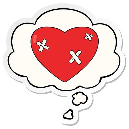 kreskówka pobite serce z bańką myśli jako wydrukowaną naklejkę