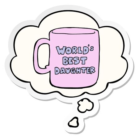 worlds best daughter mug with thought bubble as a printed sticker
