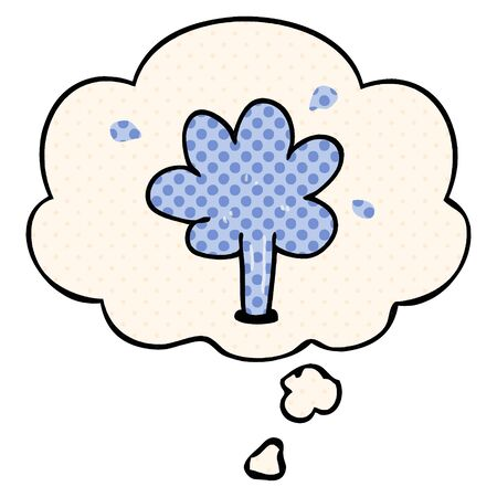 cartoon squirting water with thought bubble in comic book style Illustration