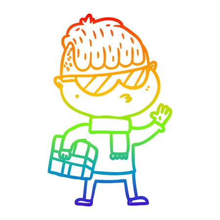 rainbow gradient line drawing of a cartoon boy wearing sunglasses carrying xmas gift